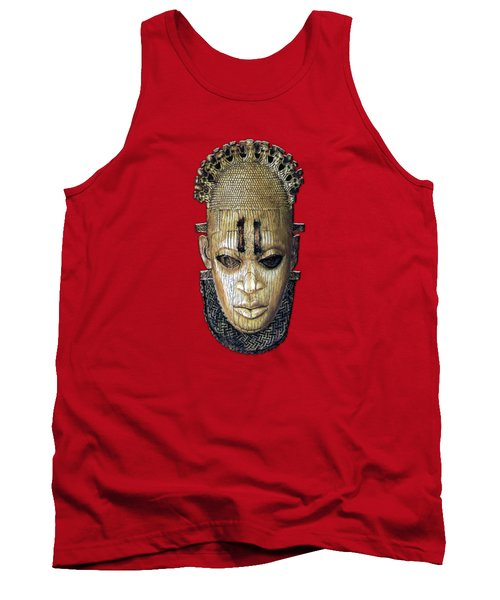 Queen Mother Idia - Ivory Hip Pendant Mask - Nigeria - Edo Peoples - Court Of Benin On Red Leather Tank Top