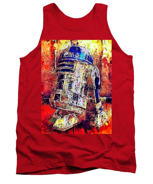 Tank Top featuring the mixed media R2 - D2 by Al Matra