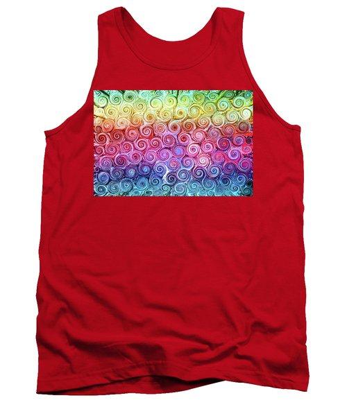 Rainbow Abstract Swirls Tank Top