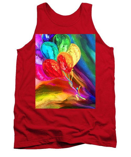 Tank Top featuring the mixed media Rainbow Chaser by Carol Cavalaris