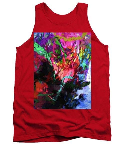 Rainbow Flower Rhapsody Red Turquoise Blue Tank Top