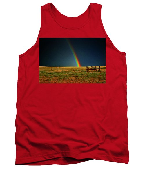 Tank Top featuring the photograph Rainbow In A Field 001 by George Bostian