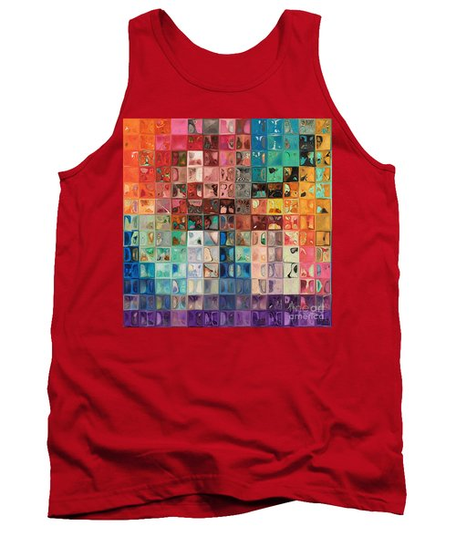 Rainbow Refractions. Modern Mosaic Tile Art Painting Tank Top by Mark Lawrence