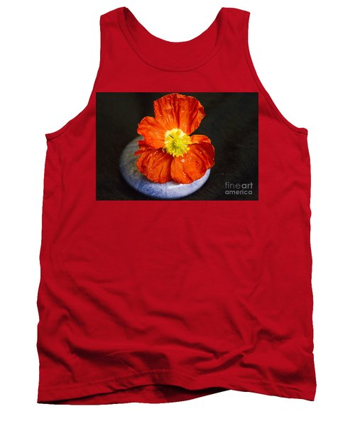 Tank Top featuring the photograph Raindrops On Poppy  by Jeanette French