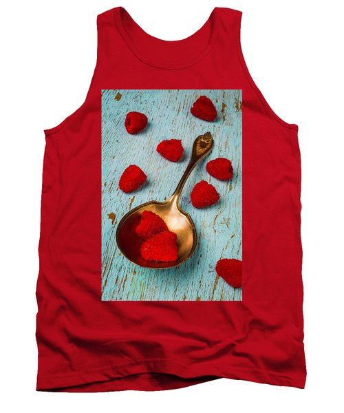Raspberries With Antique Spoon Tank Top by Garry Gay