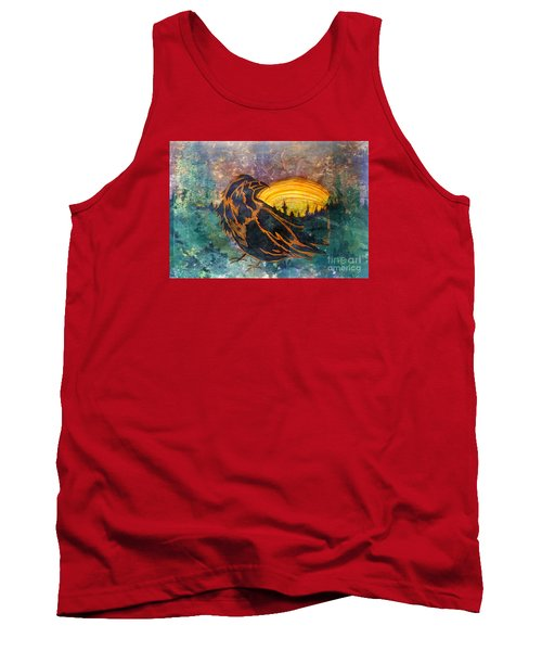 Tank Top featuring the mixed media Raven Of The Woods by Cynthia Lagoudakis