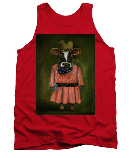 Tank Top featuring the painting Real Cowgirl by Leah Saulnier The Painting Maniac