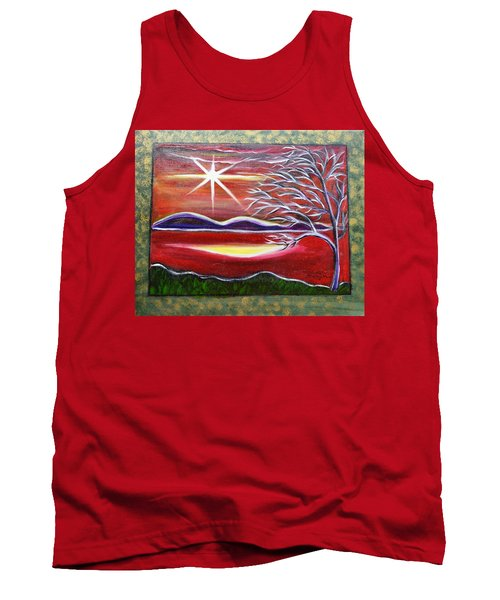 Red Abstract Landscape With Gold Embossed Sides Tank Top