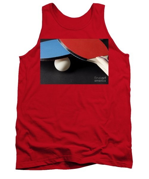 Red And Blue Ping Pong Paddles - Closeup On Black Tank Top