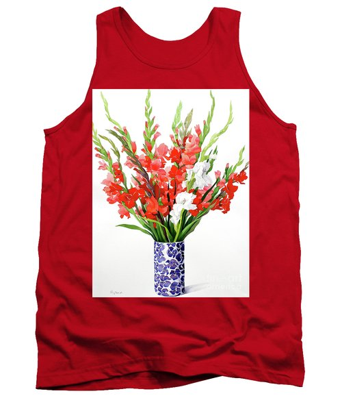 Red And White Gladioli Tank Top