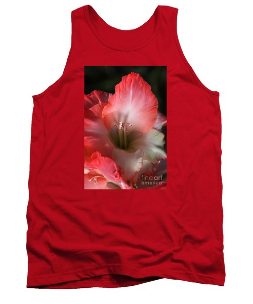 Red And White Gladiolus Flower Tank Top by Joy Watson