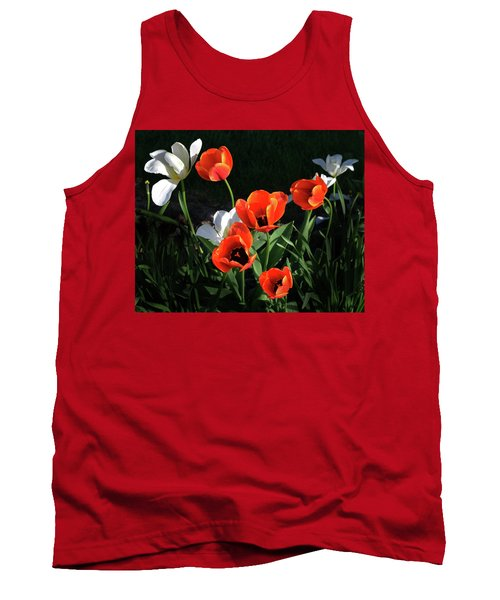 Red And White Tulips Tank Top by Kathleen Stephens
