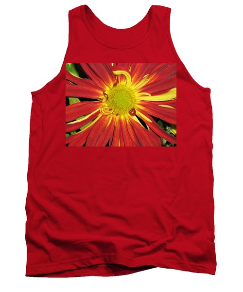 Red And Yellow Flower Tank Top by Barbara Yearty