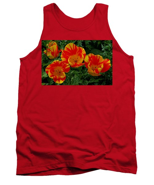 Red And Yellow Flower Tank Top by John Topman