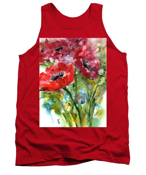 Red Anemone Flowers Tank Top