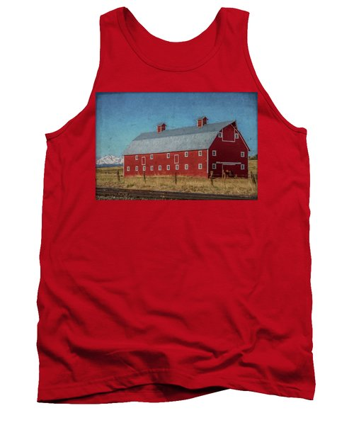 Red Barn By The Railroad Tracks Tank Top