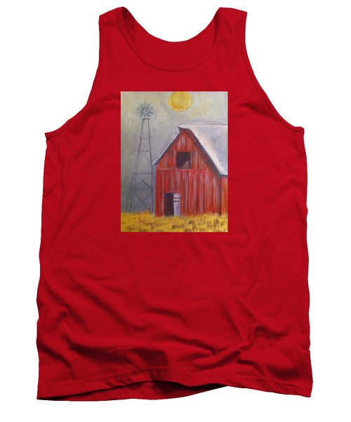 Tank Top featuring the painting Red Barn With Windmill by Belinda Lawson