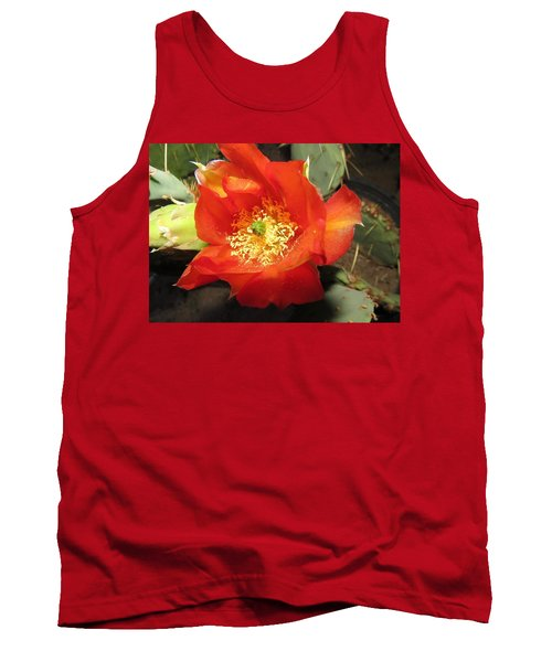 Red Bloom 1 - Prickly Pear Cactus Tank Top