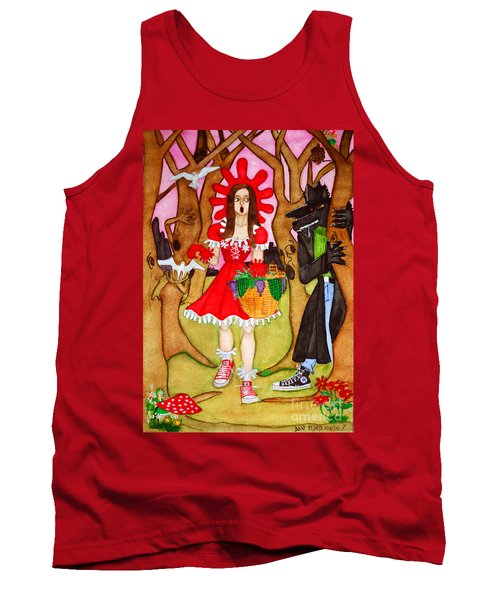 Tank Top featuring the painting The Little Riding Hood And The Wolf In Chucks by Don Pedro De Gracia