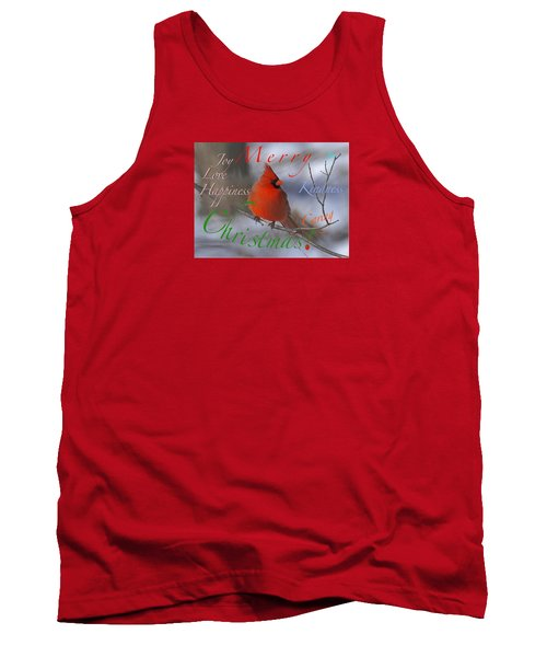 Tank Top featuring the mixed media Red Cardinal Christmas by Mary Armstrong