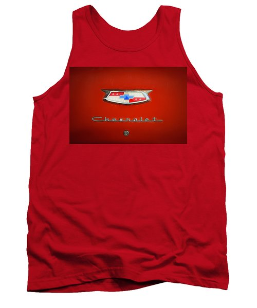 Tank Top featuring the photograph Red Chevy Bel-air Trunk by Marilyn Hunt