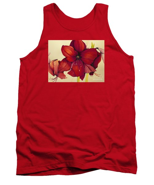 Tank Top featuring the painting Red Christmas Amaryllis by Rachel Lowry