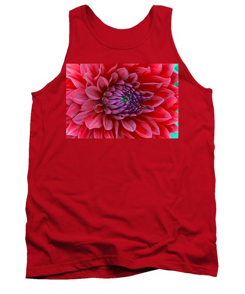 Red Dalia Up Close Tank Top by James Steele