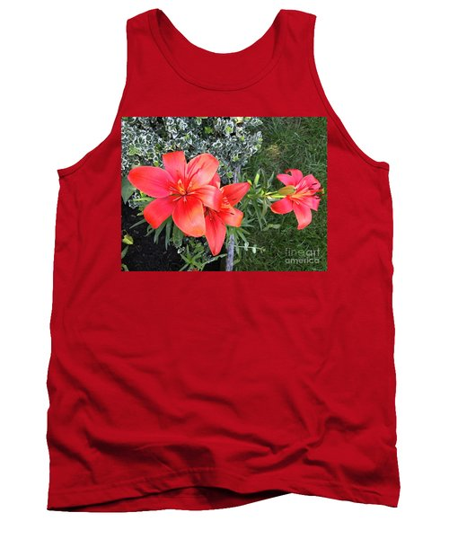 Red Day Lilies Tank Top