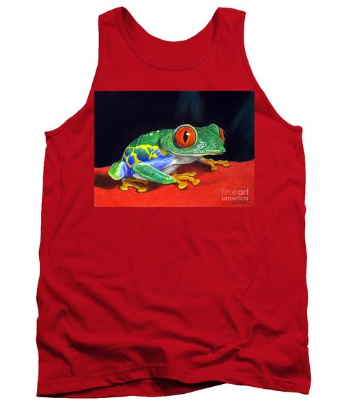 Tank Top featuring the painting Red Eyed Tree Frog by Christopher Shellhammer