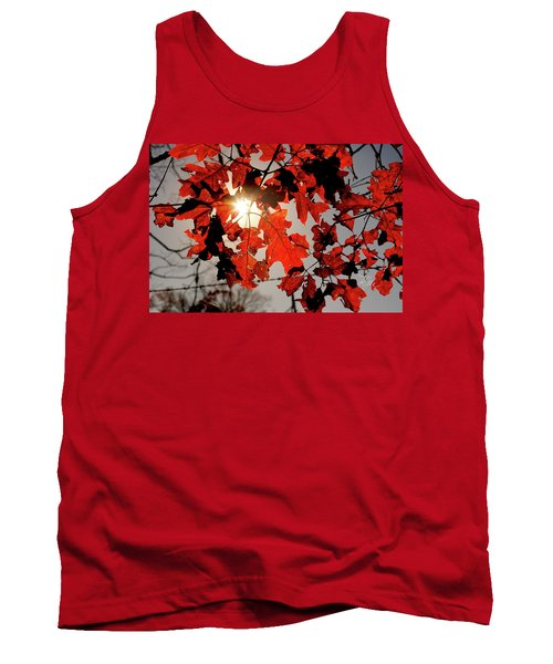 Red Fall Leaves Tank Top