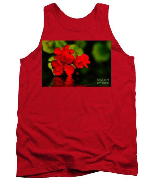 Red Geranium On Water Tank Top