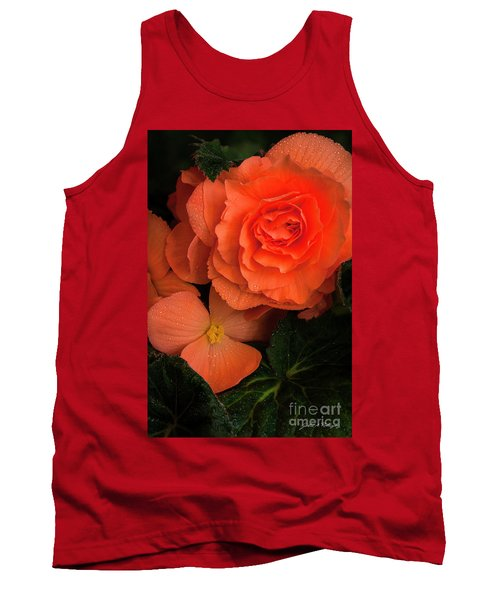 Red Giant Begonia Ruffle Form Tank Top