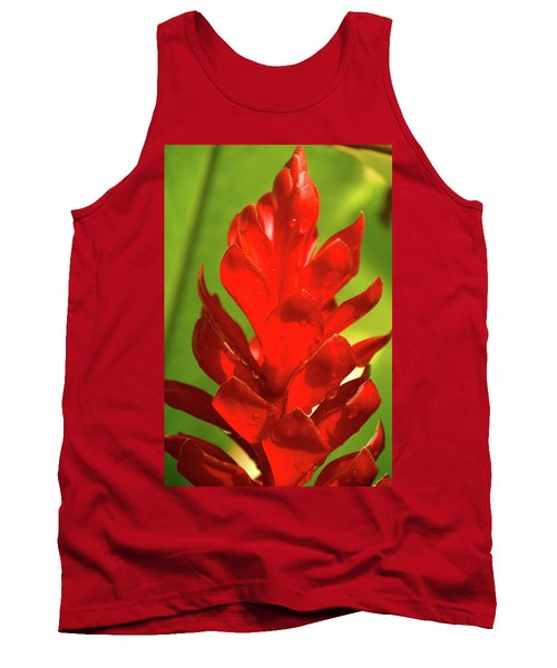 Red Ginger Bud After Rainfall Tank Top by Michael Courtney