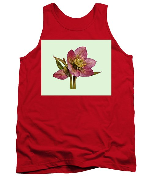 Tank Top featuring the photograph Red Hellebore Green Background by Paul Gulliver