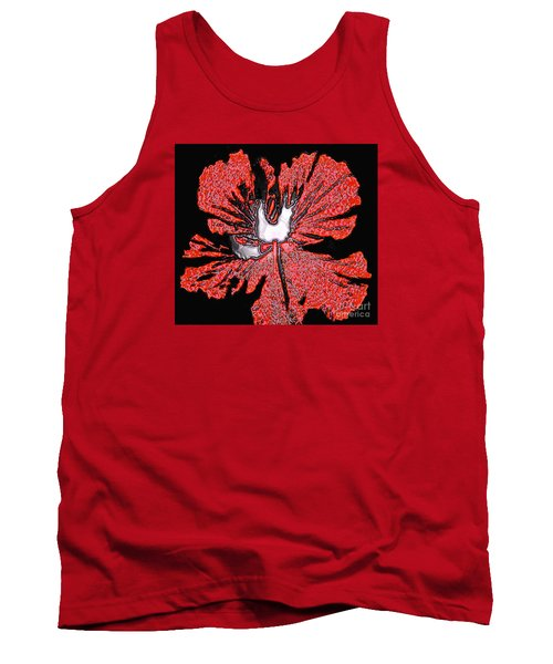 Red Hibiscus Flower In Three Dimensions Tank Top