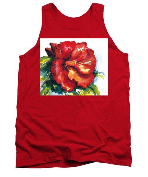 Fireball Red Hibiscus Tank Top