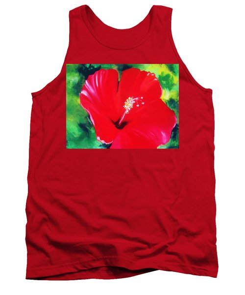 Red Hibiscus Tank Top