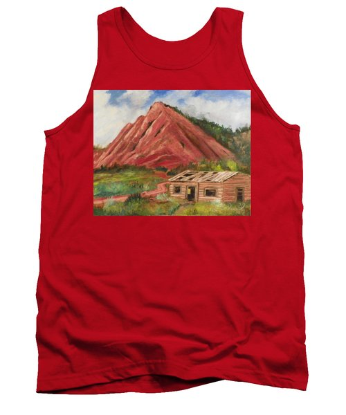 Tank Top featuring the painting Red Hill And Cabin by Sherril Porter