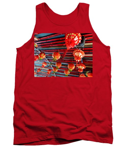 Tank Top featuring the photograph Red Lanterns 3 by Randall Weidner