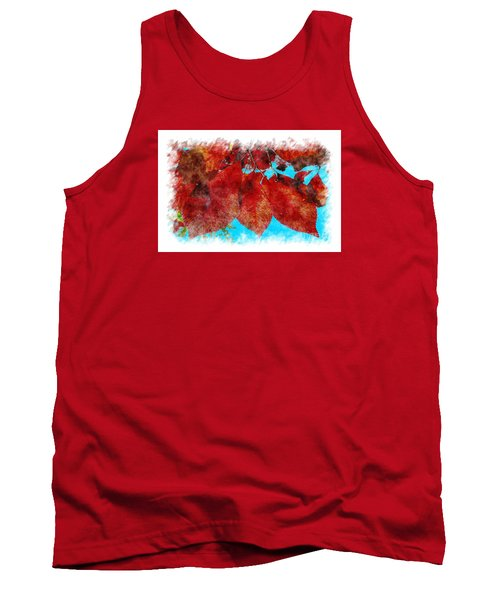 Tank Top featuring the photograph Red Leaves by Jean Bernard Roussilhe