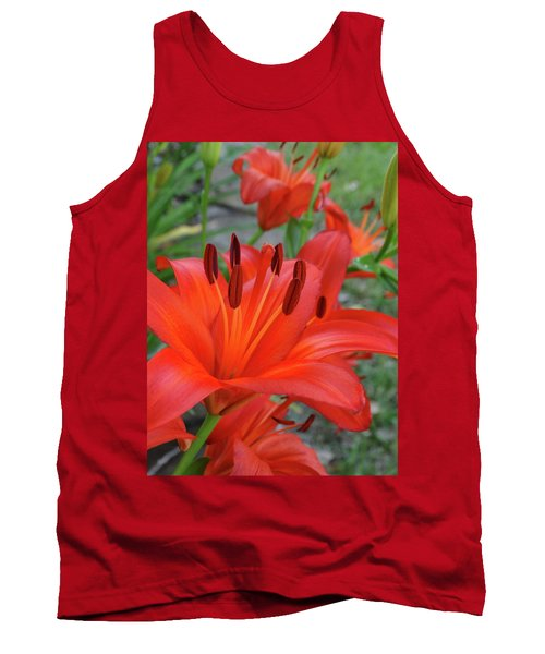 Red Lilies Tank Top