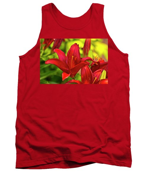 Red Lily Tank Top by Bill Barber