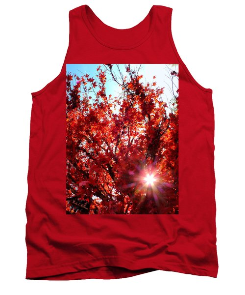 Tank Top featuring the photograph Red Maple Burst by Wendy McKennon