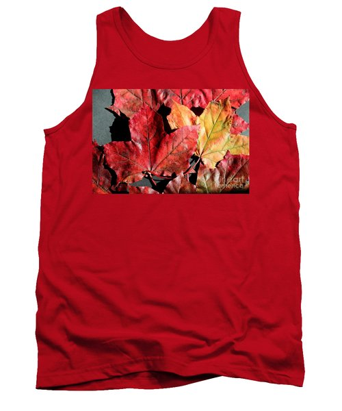 Red Maple Leaves Digital Painting Tank Top by Barbara Griffin