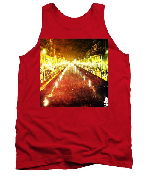 Tank Top featuring the digital art Red Naviglio by Andrea Barbieri