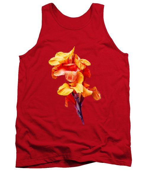 Tank Top featuring the photograph Red Orange Canna Blossom Cutout by Linda Phelps
