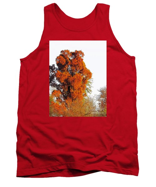 Red-orange Fall Tree Tank Top
