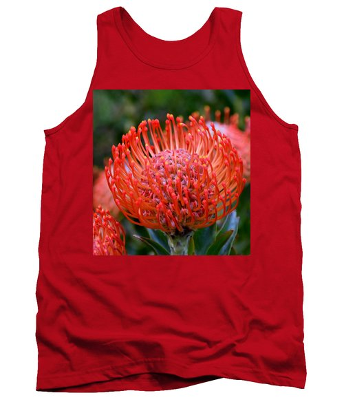 Red  Pincushion Protea Tank Top by Werner Lehmann