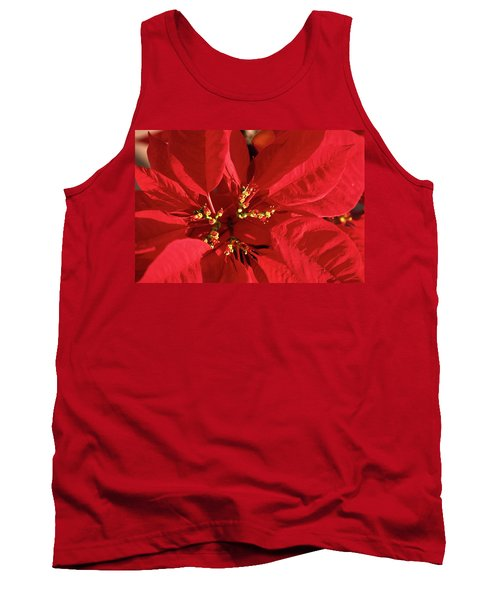 Red Poinsettia Macro Tank Top by Sally Weigand