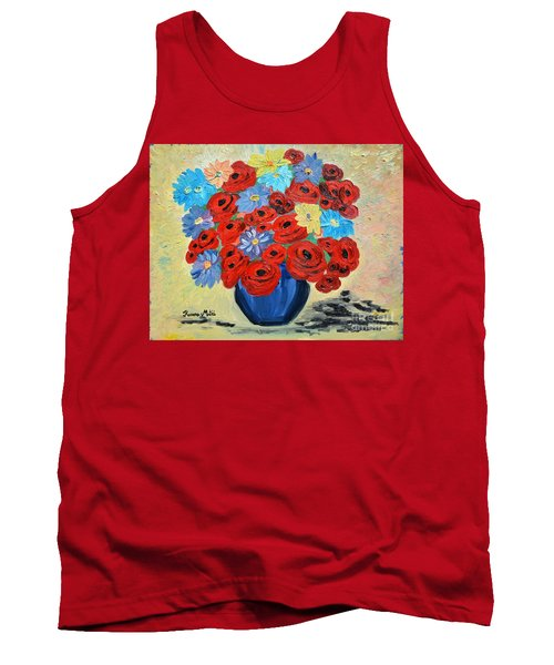Red Poppies And All Kinds Of Daisies  Tank Top by Ramona Matei